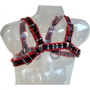 Metal Hard Leather Body Chain Harness Iii Black / Red