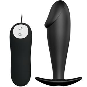 Pretty Love Plug Anal Silicona Forma Pene Y 12 Modos Vibracion - Negro