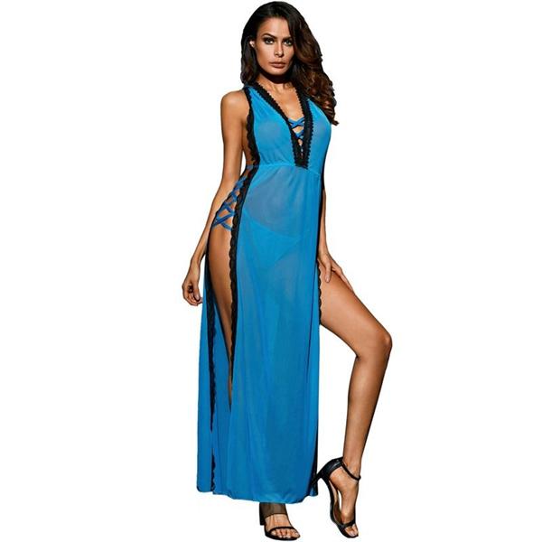 Queen Lingerie - Queen Lingerie  Vestido Largo Azul