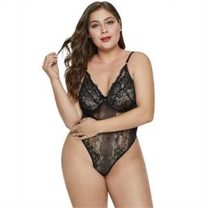 Queen Lingerie Plus Size Teddy Floral Negro Xl