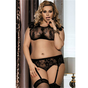 Queen Lingerie Queenlingerie Plus Size 2pcs Set Negro 3xl/4xl