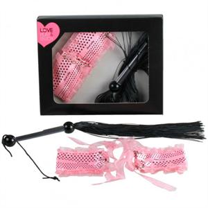 Secretplay Kit BDSM Látigo Negro + Esposas Rosas Satén