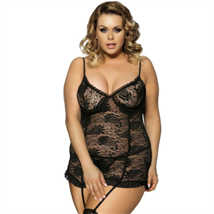 Subblime Queen Plus Size Subblime Queen Plus Chemise Con Liguero