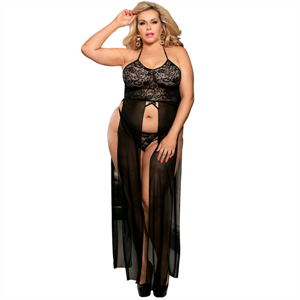 Subblime Queen Plus Size Subblime Queen Plus Set Top-vestido Y Tanga Negro