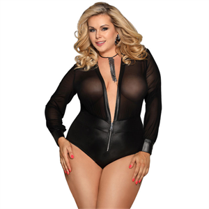 Subblime Queen Plus Size Subblime Queen Plus Teddy Con Cremallera Y Manga Larga
