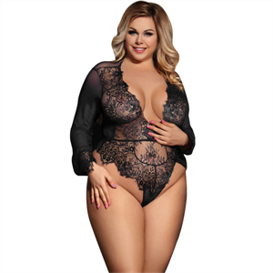 Subblime Queen Plus Size Subblime Queen Plus Teddy Escotado Con Flequitos