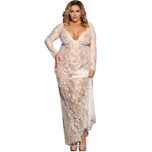Subblime Queen Plus Size Subblime Queen Plus Vestido Largo Manga Larga Blanco